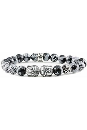 Davis Sterling Silver Buddha Bracelet Obsidian Snowflake Gemstones Beads Men's and Women's Jewelry (15)