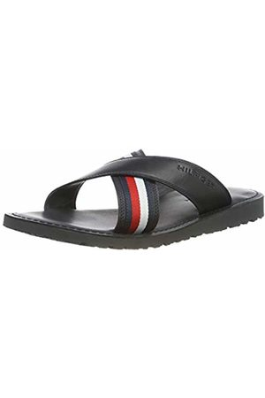 Tommy Hilfiger Men's Criss Cross Leather Sandal Flip Flops
