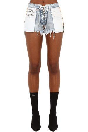 UNRAVEL Women Shorts - Stone 10 Reverse Lace-up Denim Shorts