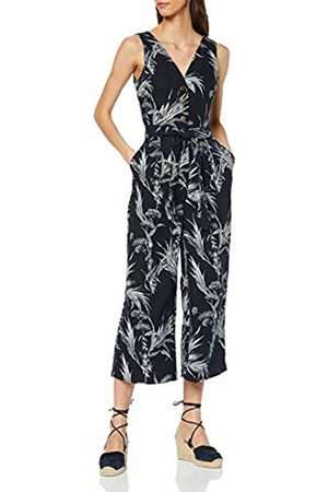 warehouse Women's Summer Rushes Button Tab Jumpsuit, (Navy/ 34)
