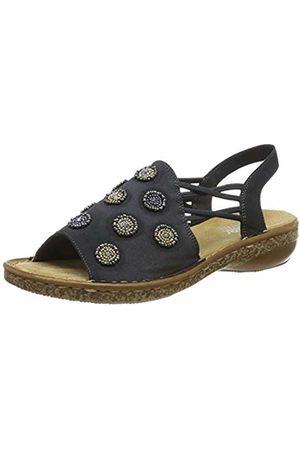 63678 14 Ladies Blue Slip on sandals