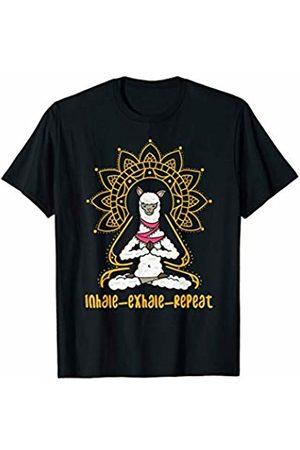 Funny Yoga Animal T-Shirts Funny Yoga T-Shirt Llama Alpaca Inhale Exhale Repeat