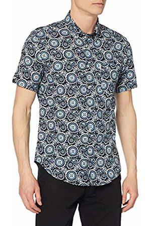 Ben Sherman Men's SS Summer Paisley Shirt Regular Fit Button Down Short Sleeve Casual Shirt, (Midnight 036)