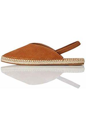 FIND Slingback Leather Espadrille Sling Back Sandals, Tan