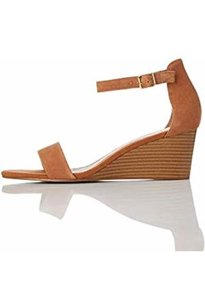 FIND Wedge Leather Open Toe Sandals, Tan