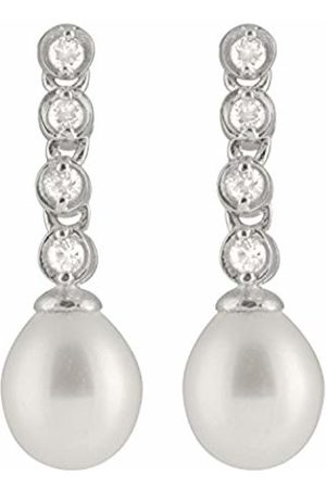 Bella Sterling Silver Freshwater Pearl and Cubic Zirconia Drop Earrings