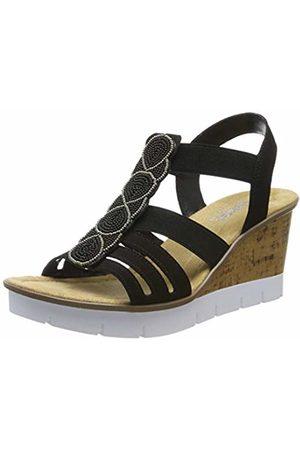 Rieker Women's V55d8-00 Platform Sandals (Schwarz 00) 3.5 UK