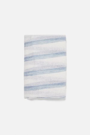 Zara Striped linen scarf