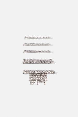 Zara Pack of rhinestone hair clips