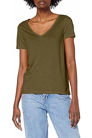 Pieces NOS Women's PCLUCY SS V-Neck TOP NOOS T-Shirt, Grün Olive Night