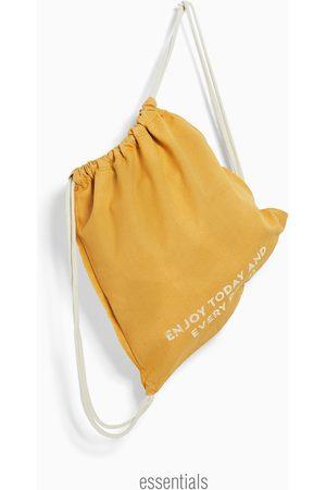 Zara Printed cotton drawstring bag