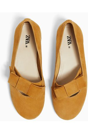 Zara Kids Bow Ties - Leather ballerinas with bow detail