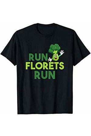 Vegetable Veggies Nutrition Vegans Gift Tee Shirts Run Florets Run T-Shirt Vegetarians Broccoli Running Shirt