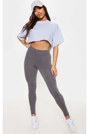 PRETTYLITTLETHING Basic Charcoal High Waisted Jersey Leggings