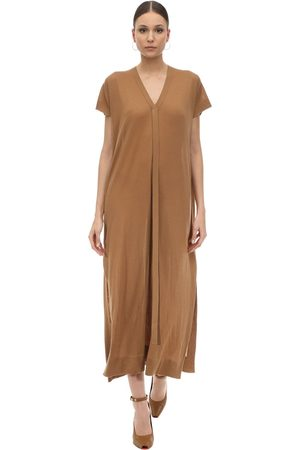 Agnona Long Cashmere Knit V Neck Dress