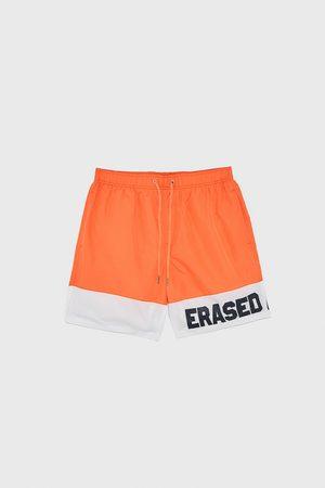 Zara Slogan colour block swimming trunks