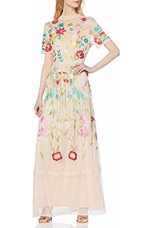 Frock and Frill Women's Filomena Embroidered Maxi with high Neck Party Dress