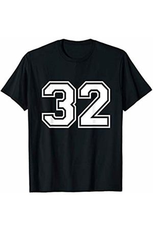 Distressed Big Numbers Fantasy Team Tees #32 Sports Fan Player Game Winner Lucky Outline Number FRONT T-Shirt