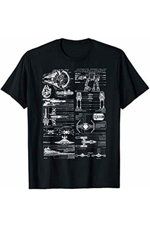 STAR WARS Ships Schematics Line Art T-Shirt