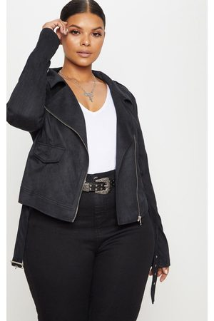 PRETTYLITTLETHING Plus Faux Suede Biker Jacket