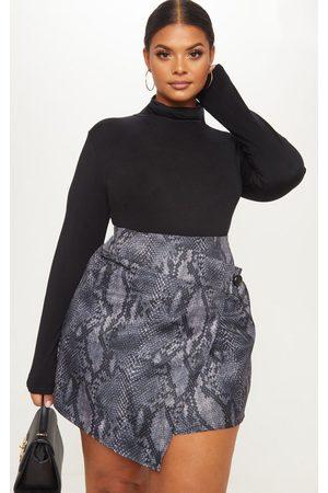 PRETTYLITTLETHING Women Mini Skirts - Plus Snake Print Button Detail Wrap Mini Skirt