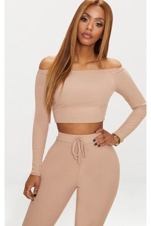 PRETTYLITTLETHING Shape Nude Ribbed Bardot Long Sleeve Crop Top