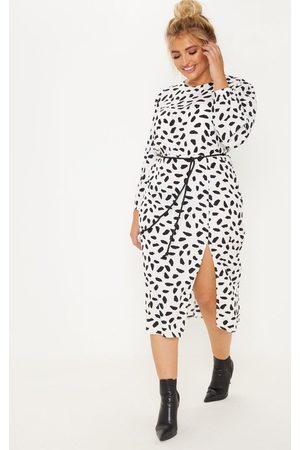 PRETTYLITTLETHING Plus Tie Waist Dalmatian Print Midi Dress