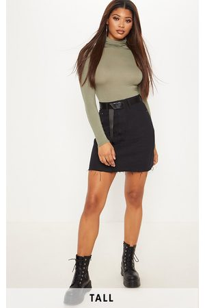 PRETTYLITTLETHING Women Denim Skirts - Tall High Waisted Denim Skirt