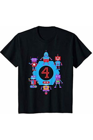 Youth Boys Robot Shirt 4th Birthday Gift Robotics Fan 4 Years Old