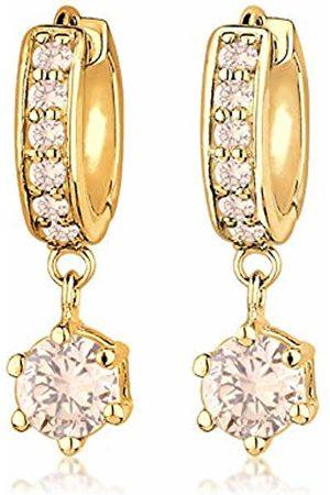 Goldhimmel Women 925 Sterling Silver Plated Hoop Zirconia Earrings 0311540513