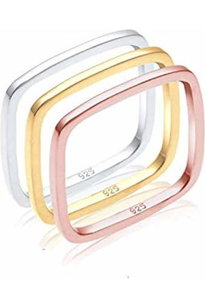 Elli Women's 925 Sterling Silver Gold and Rose Gold Plated Tricolour Xilion Cut Square Ring Set
