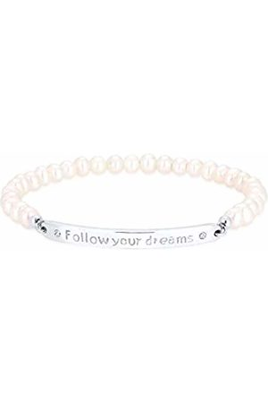 Elli Women 925 Sterling Silver Follow Your Dreams Freshwater Pearls Swarovski Crystal Bracelet of 18cm 202710216