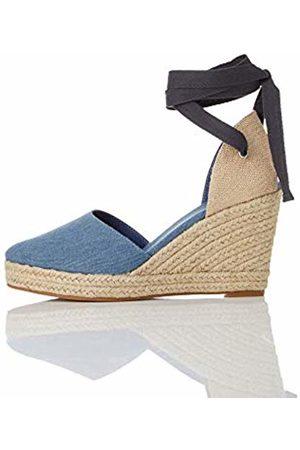 FIND Wedge Close Toe Canvas Espadrille Sandals, Denim