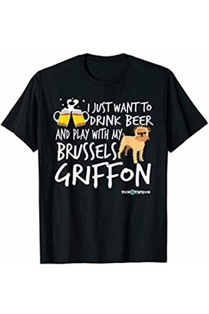 ToonTyphoon Women T-shirts - Amusing Brussels Griffon Apparel Drink Beer and Play... T-Shirt