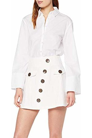 Lost Ink Women's Mini Skirt with Contrast Buttons (Ivory 0012)