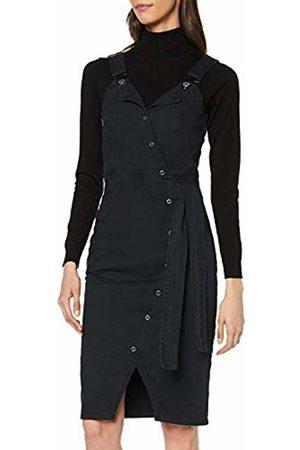 Lost Ink Women's Denim WRAP Front MIDI Pinny Dress Washed 0003
