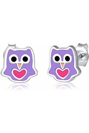 Elli Children's 925 Sterling Silver Purple Owl Earrings