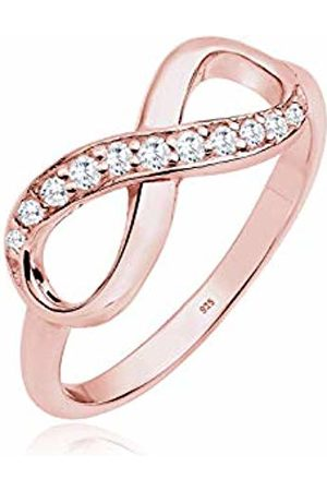 Elli Women's 925 Sterling Xilion Cut Zircon Infinity Friendship Love Themed Rose Gold Plated Ring