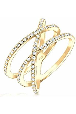 Elli Women's 925 Sterling Silver Plated Zirconia Crossed Ring