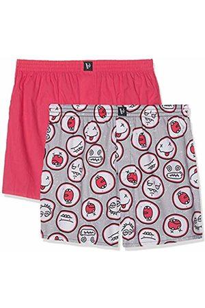 Bruno Banani Men's Boxershorts 2er Pack Cheerful Boxer Shorts, (Grau Smiley Print//Azalee 2636)