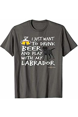 ToonTyphoon Amusing Black Labrador Apparel Drink Beer and Play... T-Shirt