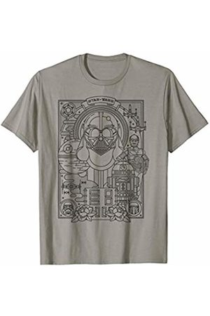STAR WARS Character Collage Line Art T-Shirt