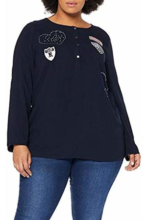 Ulla Popken Women Blouses - Women's Plus Size Sporty Patch Blouse Navy 28/30 717759 70-54+