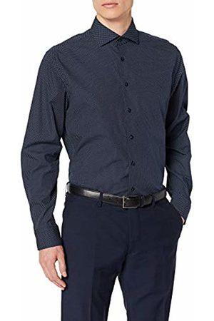 Seidensticker Mens 234187 Regular Fit Classic Long Sleeve Business Shirt - Blue - 18