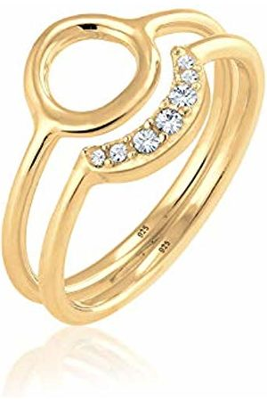 Elli Women's 925 Sterling Silver Plated Crescent Circle Set Swarovski Crystals Ring