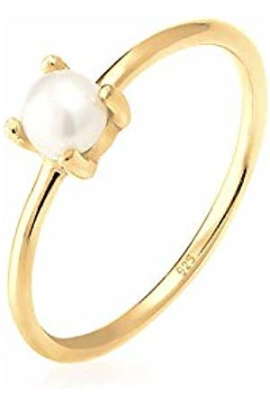 Elli Women's 925 Sterling Silver Plated Xilion Cut Round Chinese Freshwater Cultured Pearl Ring