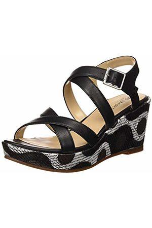 JB Martin Women's Darel Sandals, (Vert Nappa/Raffia Wax Noir)