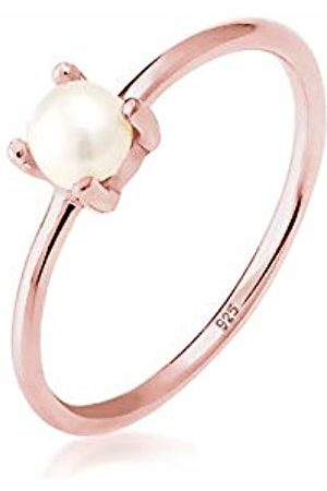 Elli Women's 925 Sterling Silver Rose Plated Freshwater Pearl Filigree Ring