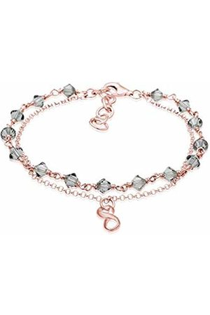 Elli Women Infinity Beads Swarovski Crystals 925 Silver Rose Plated Bracelet of Length 16cm