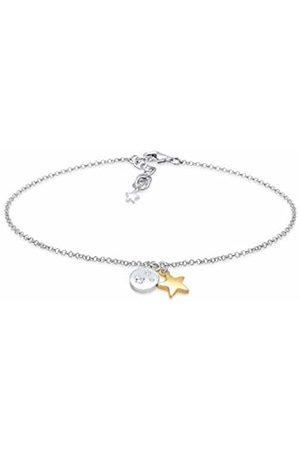 Elli Women's 925 Sterling Silver Platelet Round Circle Star Astro 0.04 ct Zirconia Pendant Bracelet - 16cm length